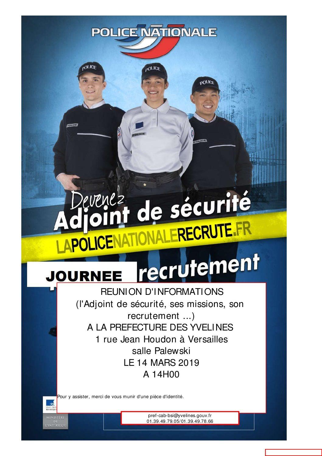 Réunion d'information – Devenez adjoint de sécurité 14-03-2019